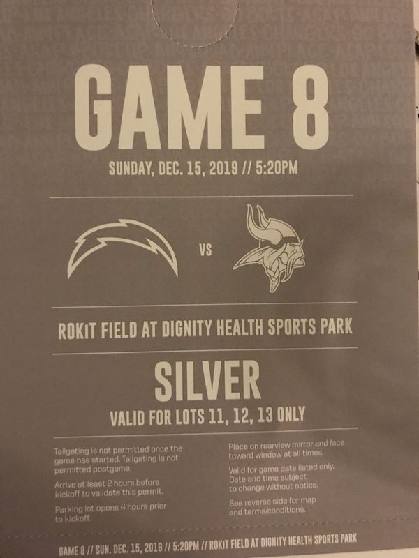 Silver Parking Pass - Minnesota Vikings Los Angeles Chargers