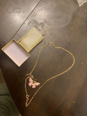 10k gold Butterfly and 14k chain for Sale in Westborough, MA