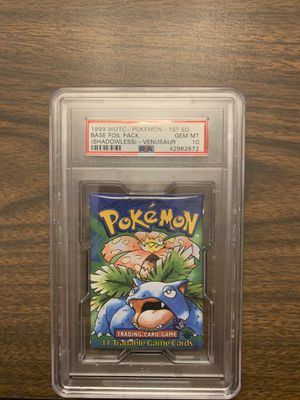 Sealed PSA 10 1st edition Shadowless Booster pack for Sale in Westfield, NJ