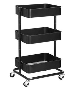 3-Tier Metal Rolling Cart, Utility Cart, Kitchen Cart with Adjustable Shelves for Sale in Azusa, CA