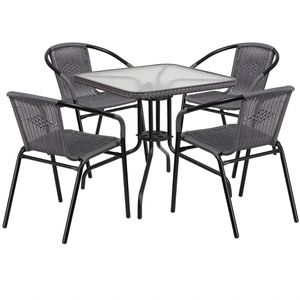 Modern Outdoor Patio Dining Set, Glass Table with 4 Rattan Chairs (Gray) (Purchase via PayPal Invoice with Free Shipping) for Sale in Philadelphia, PA