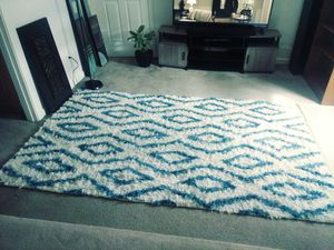 100% wool 5ft x 8ft sky blue and ivory luxury area rug for Sale in Seattle, WA