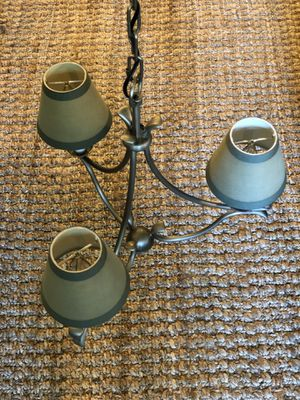 Small Brushed Nickel Chandelier with Sage Green Shades for Sale in Columbus, OH
