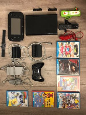 Nintendo Wii U Deluxe 32 GB Black Console with 4 Controllers & 7 Games! for Sale in Burbank, CA