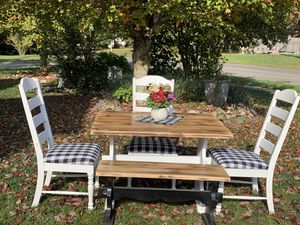 Authentic farmhouse kitchen set 22x4434x44drop leaf table 3 buffalo plaid chairs bench for Sale in Stafford Township, NJ