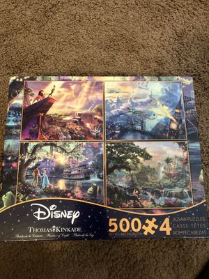 Disney Thomas Kinkade Set Of 4 Collection 500 Puzzle Piece Limited LION KING for Sale in Austin, TX