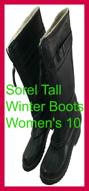 Warm Comfortable Sorel Women's 10 M Winter Tall Boots Leather Black Waterproof for Sale in Willowbrook, IL