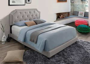 Grey Upholstered Platform Beds! Twin, Full, Queen and King (Starting at $200) for Sale in Silver Spring, MD
