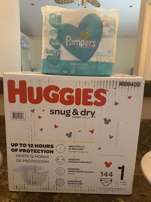 Huggies size 1 diapers and wipes bundle for Sale in Riverside, CA