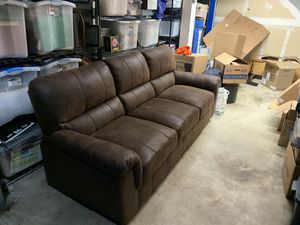 Brown faux leather couch (barely used, out of the box new) for Sale in Federal Way, WA