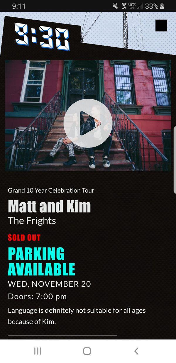 Matt and Kim at 9:30 Club November 20, 2019 - Two Tickets