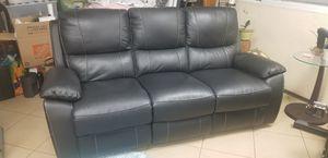 Black Leather Elegant Sofa Recliner, Like New for Sale in Fallbrook, CA