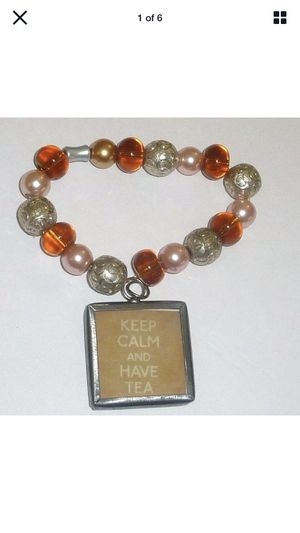 "Fashion Bracelet ""Keep Calm and Have Tea"" Beaded Elastic Stretch Multi Color for Sale in Lake Oswego, OR"