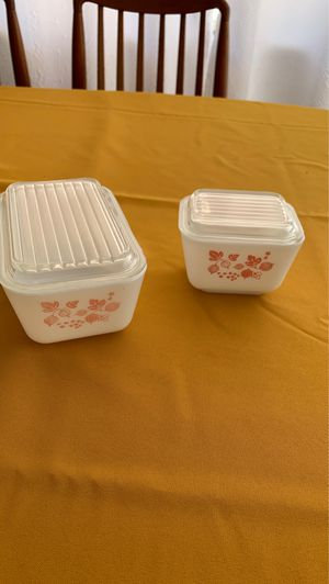 Rare Pyrex Pink Gooseberry Refrigerator Dishes for Sale in Rancho Cucamonga, CA
