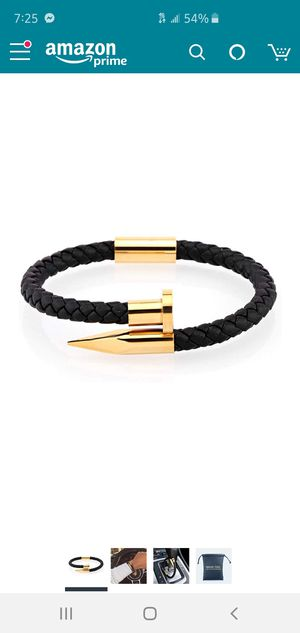 Braided Leather Bracelet for Men Classic Designed Stainless Steel Nail Cuff Bracelet Magnetic Clasp 7.0-7.5 Inch for Sale in Palatine, IL
