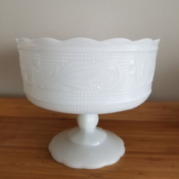 E. O. Brody Co. White Milk Glass Pedestal Compote
