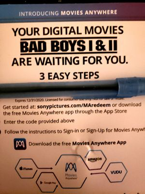 Bad boys I and II 1 2 4K digital movies moviesanywhere for Sale in Grapevine, TX
