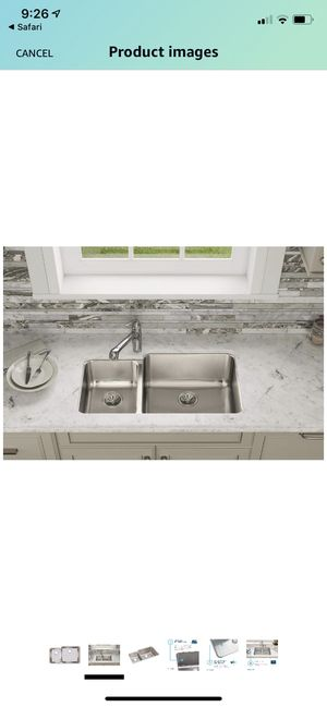"Elkay ELUH3520L Gourmet 35-1/4"" Double Basin 18-Gauge Stainless Steel Kitchen Sink for Undermount Installations with 35/65 Split and SoundGuard Techn for Sale in Union, NJ"