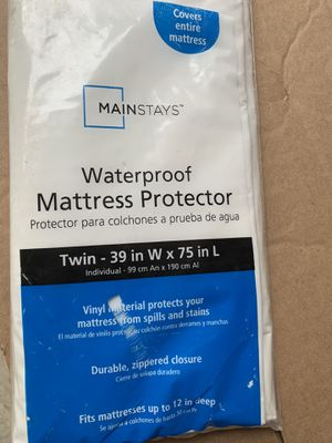 Still in package Twin Bed Mattress cover, waterproof . Porch Pickup in East Clayton for Sale in Clayton, NC