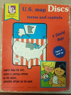 Vintage 1977 US Map Discs States & Capital Children Learning Tools (A2) for Sale in Upland, CA