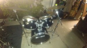 Old Starion 5 pc Drum Set in Black Plastic for Sale in Anaheim, CA