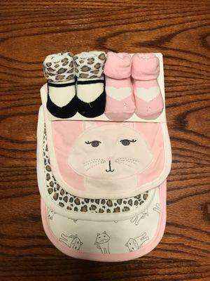 New Baby Girl Bib & Sock Set 0-9 months for Sale in Long Beach, CA
