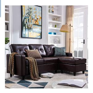 Convertible Sectional Sofa Couch Leather L-Shape Couch with Modern Faux Leather Sectional for Small Space Apartment Brown for Sale in Hacienda Heights, CA