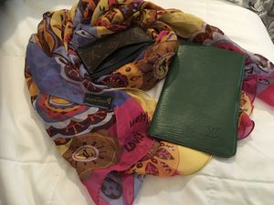 Green cover diary 📔 passport wallet Louis Vuitton holder ID Card Louis Vuitton and scarf 🧣 Louis Vuitton for Sale in Renton, WA