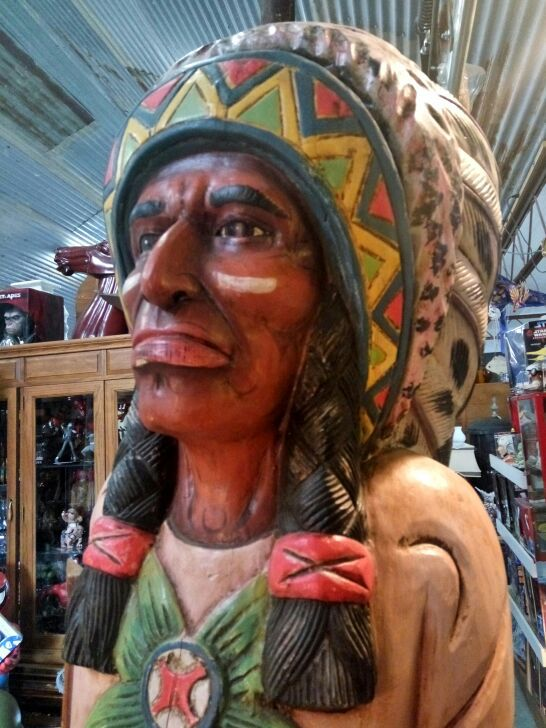 Vintage hand carved wood cigar Indian chief