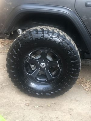 37 13.5 17 toyo mud open country wheels and tires fits Jeep jk jl jt set of five 2 are at 85 to 90 % and the other 3 at about 55 to 60 percent for Sale in Fair Oaks, CA