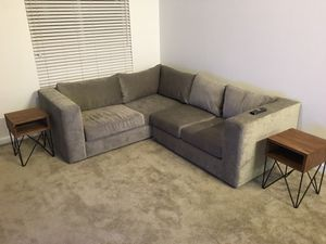 Modern L shaped suede sectional Sofa in Grey for Sale in Pleasanton, CA
