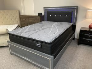 Queen Grey Bed Frame w/ LED Lights for Sale in Virginia Beach, VA