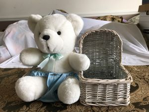 Stuffed bear with baby basket for Sale in Mullica Hill, NJ