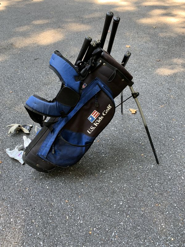 US Kids Golf Clubs and Bag (Blue clubs)
