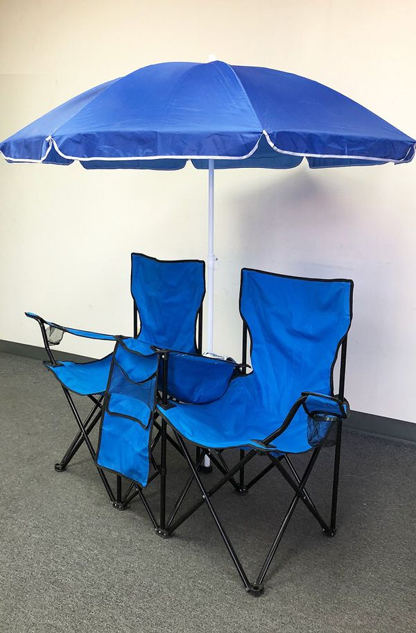 New $35 Portable Folding Picnic Double Chair w/ Umbrella Table Cooler Beach Camping Chair