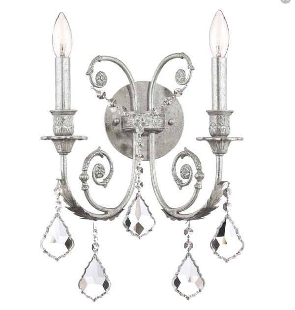 "Crystorama Lighting Group Regis 2 Light 12-1/2"" Wide Wall Sconce with Clear Hand Cut Crystals"
