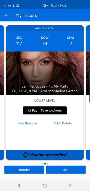 2 Jennifer Lopez Miami Tickets for Friday Concert for Sale in Oakland Park, FL