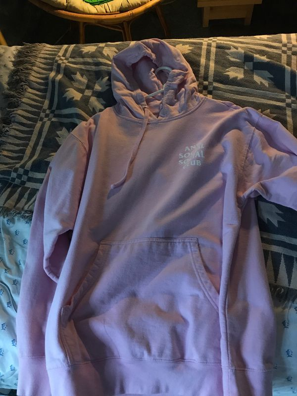 BRAND NEW 100 % authentic ASSC anti social social club hoodie pink size large