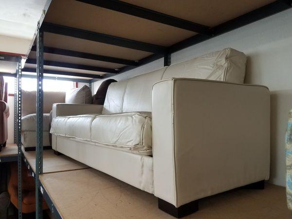 White leather futon