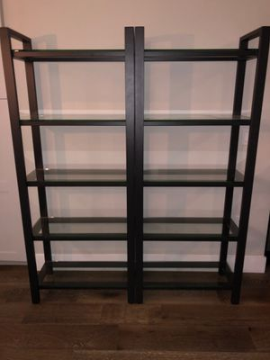 Pottery barn metal and glass bookshelves for Sale in Boca Raton, FL