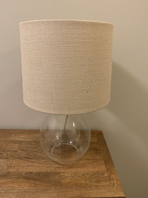 Glass Base Lamp with Linen Shade