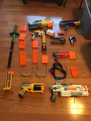 Variety of nerf guns, mags, and goggles with nerf sword for Sale in Falls Church, VA
