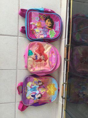 Princess toddler girl backpacks ( Ariel, cinderella, Belle, Snow white, Dora) for Sale in Highland, CA