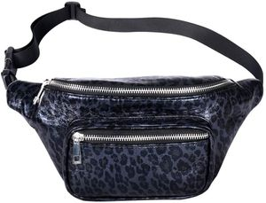 Geestock Pluse Size Leopard Fanny Packs PU Leather Bumbag Women Belt Bag Cute Waist Pack with Adjustable Belt for Rave, Festival, Travel, Party (Blue- for Sale in Glendale, AZ