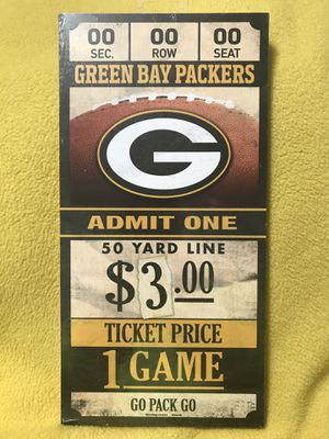 NFL Green Bay Packers Wood Sign Ticket for Sale in Sioux Falls, SD