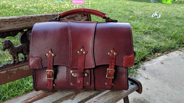 Handmade Italian leather messenger bag