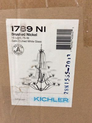 75 W 15 lights brushed nickel chandelier $200 for Sale in Grove City, OH