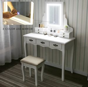 White vanity makeup mirrors table with LED mirror and stool for Sale in Canyon Country, CA