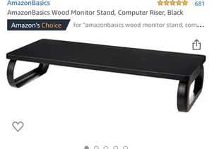 AmazonBasics Wood Monitor Stand, Computer Riser, Black for Sale in Norwalk, CA