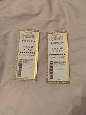 2 tickets to Golfland sunsplash in mesa (night splash) for Sale in Mesa, AZ